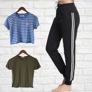 Size Small Crop Tops and Striped Joggers Loungewear Bundle